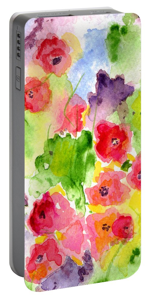 Watercolor Portable Battery Charger featuring the painting Floral Fantasy by Paula Ayers