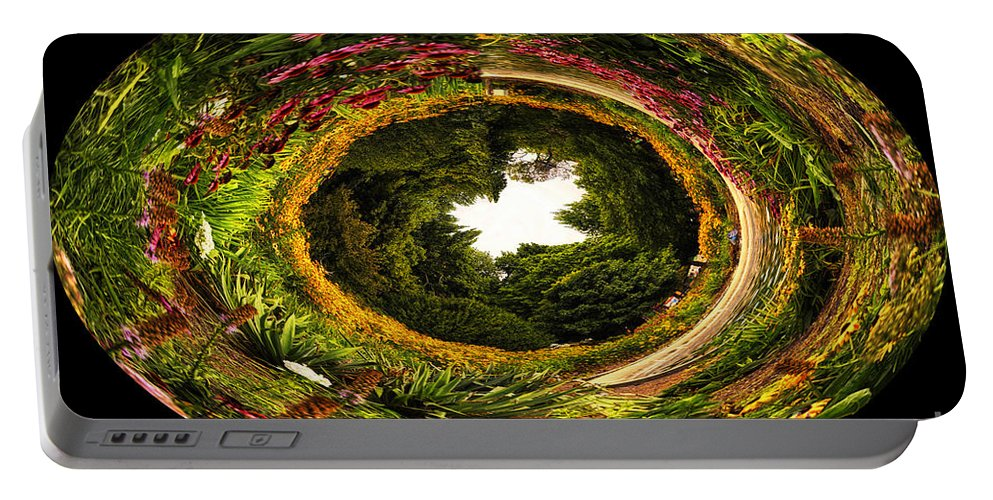 Little Planet Portable Battery Charger featuring the photograph Floral Garden Polar View 02 by Thomas Woolworth