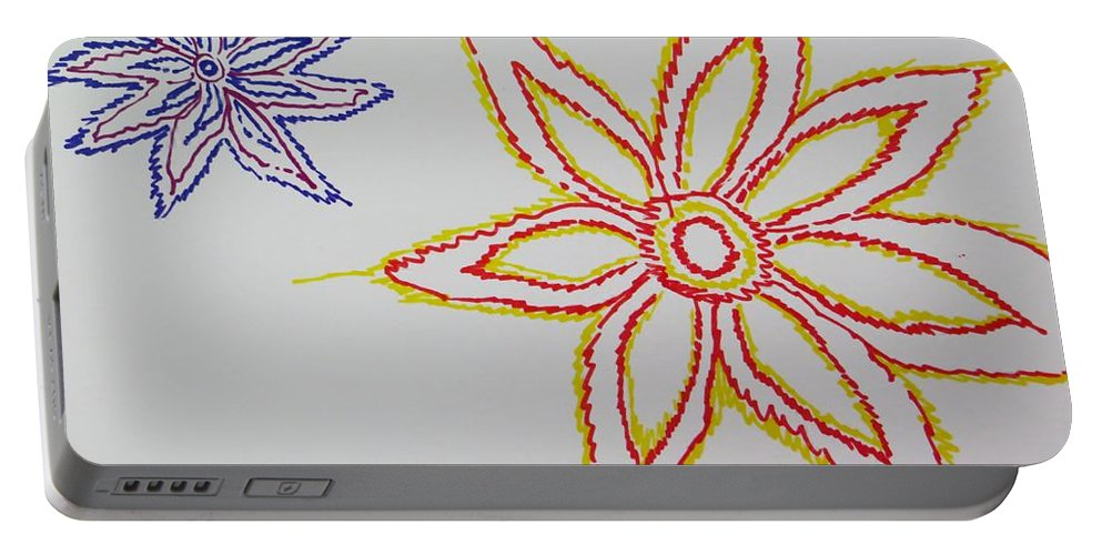 Drawing Portable Battery Charger featuring the drawing Floral Joy by Sonali Gangane