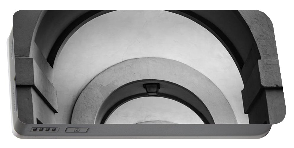 B&w Portable Battery Charger featuring the photograph Florence Hallway by Inge Johnsson