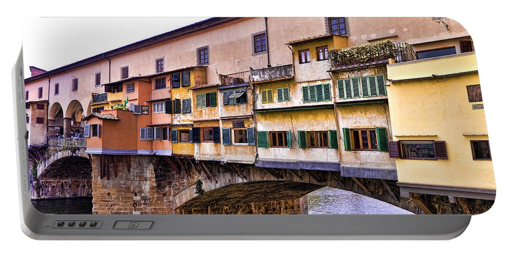 Ponte Vecchio Portable Battery Charger featuring the photograph Florence Italy Ponte Vecchio by Jon Berghoff