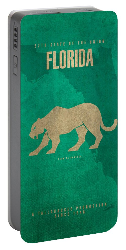 Florida Portable Battery Charger featuring the mixed media Florida State Facts Minimalist Movie Poster Art by Design Turnpike