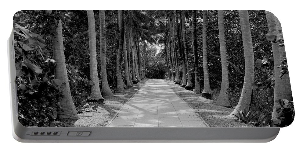 Black And White Portable Battery Charger featuring the photograph Florida Walkway Black And White by Carey Chen