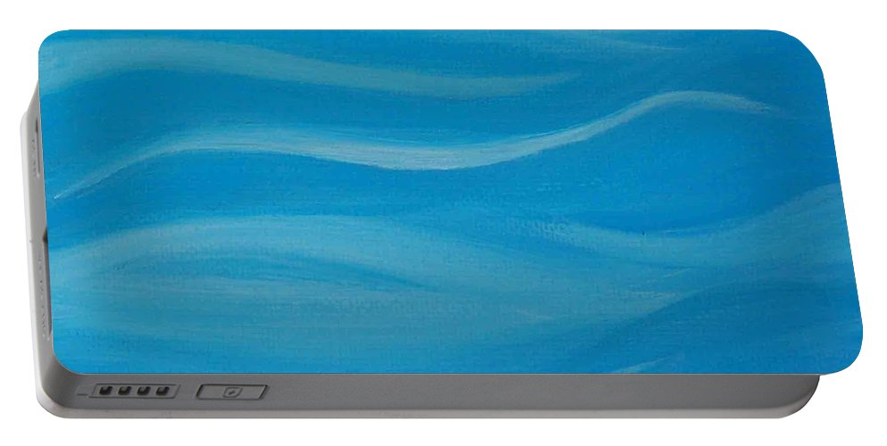 Blue Portable Battery Charger featuring the painting Flow2 by Sonali Kukreja