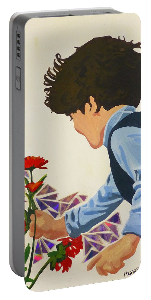 Hanzer Art Portable Battery Charger featuring the painting Flower Child by Jack Hanzer Susco