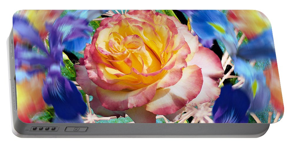 Flowers Portable Battery Charger featuring the digital art Flower Dance 2 by Lisa Yount