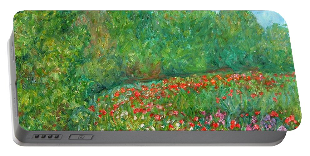 Blue Ridge Paintings Portable Battery Charger featuring the painting Flower Field by Kendall Kessler