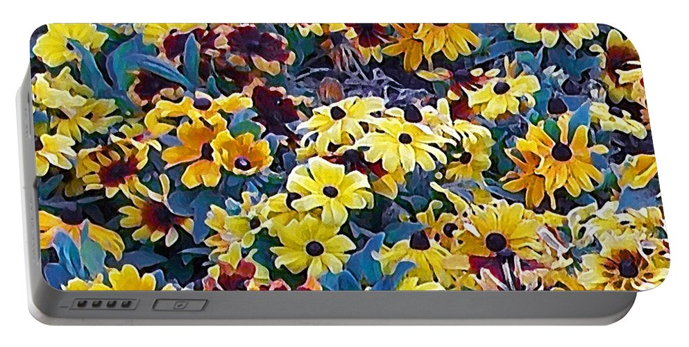 Flower Portable Battery Charger featuring the digital art Flower Garden by Ernie Echols