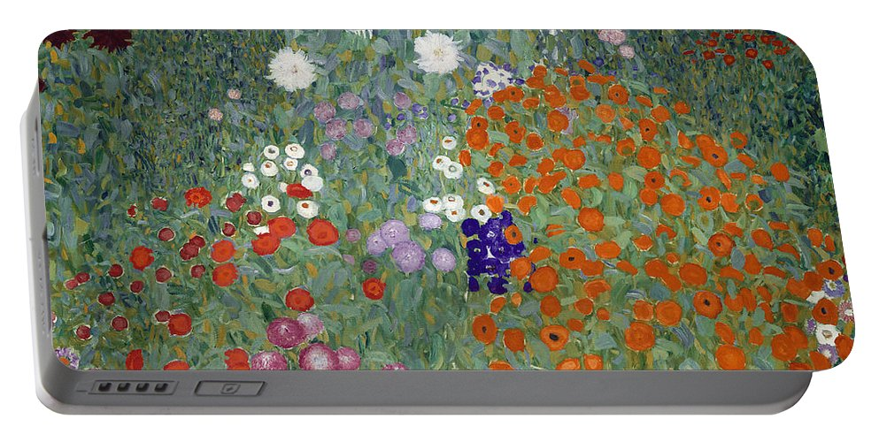 Klimt Portable Battery Charger featuring the painting Flower Garden by Gustav Klimt