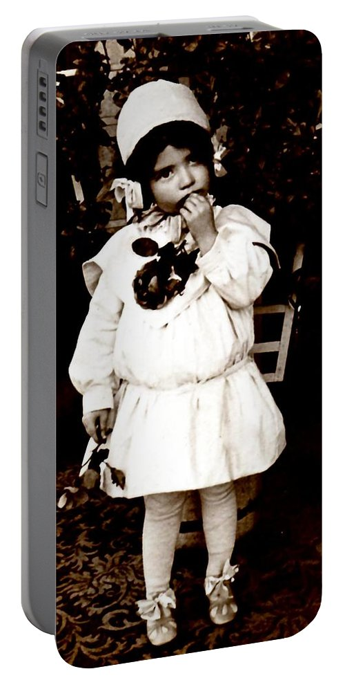 Vintage Portable Battery Charger featuring the photograph Flower Girl by Image Takers Photography LLC