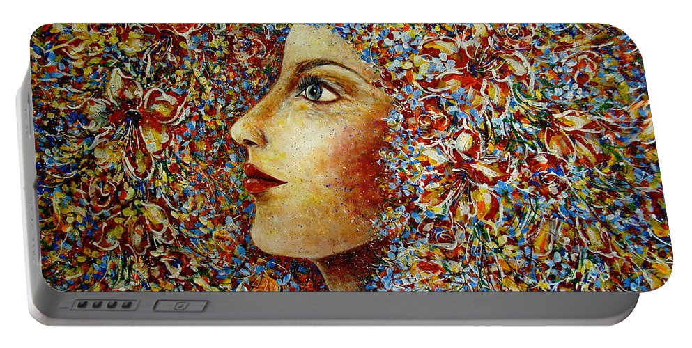 Flower Goddess Portable Battery Charger featuring the painting Flower Goddess. by Natalie Holland