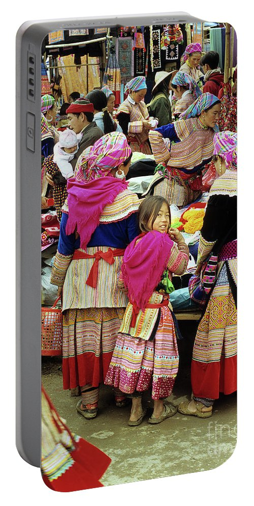 Vietnam Portable Battery Charger featuring the photograph Flower Hmong Girl 01 by Rick Piper Photography