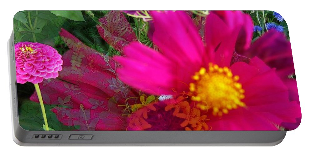 Garden Portable Battery Charger featuring the digital art Flower Patch 1 by Andrea Lawrence