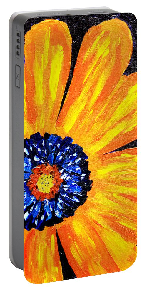 Yellow Portable Battery Charger featuring the painting Flower Power 2 by Paul Anderson