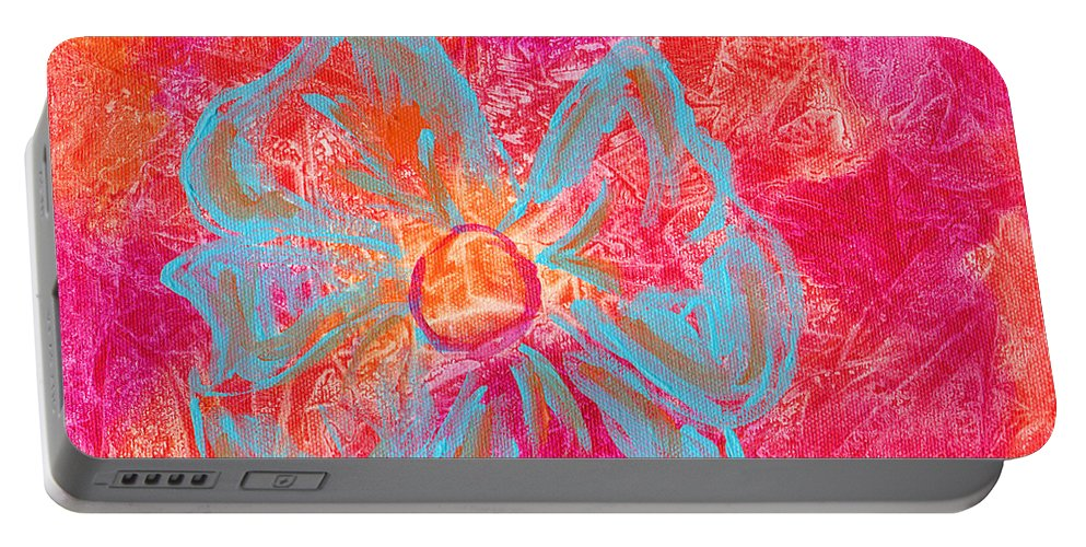 Orange Portable Battery Charger featuring the painting Flower Power by Paulette B Wright
