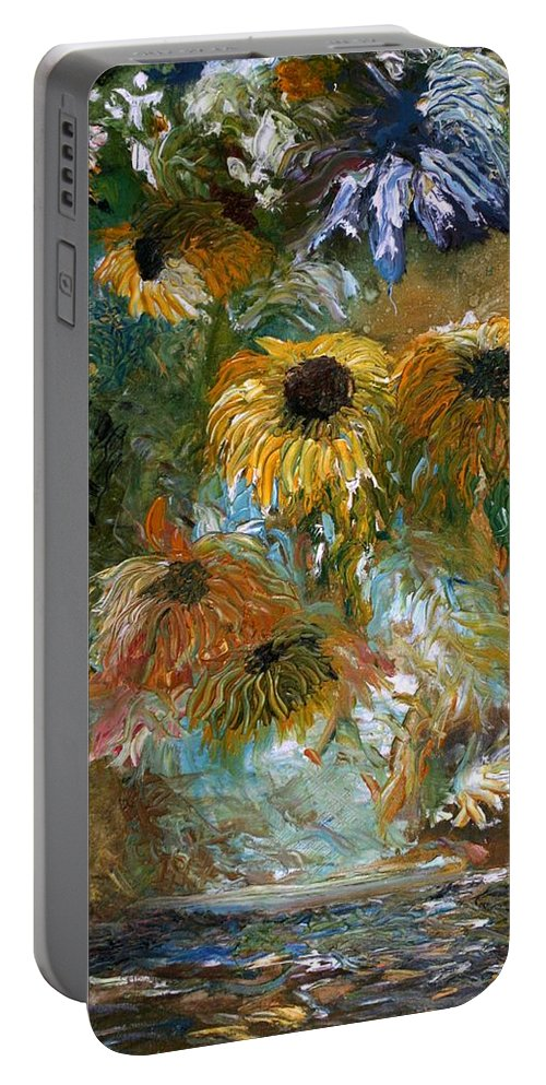 Flowers Portable Battery Charger featuring the painting Flower Rain by Jack Diamond