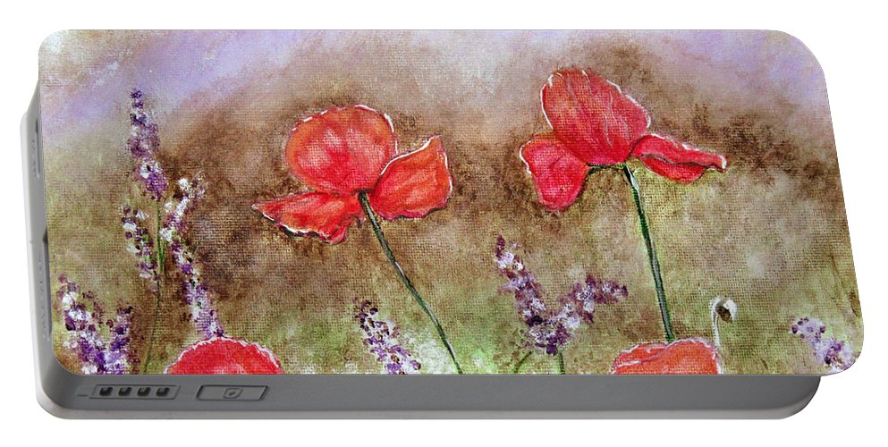 Flowers Portable Battery Charger featuring the painting Flowering Field by Lisa Stanley