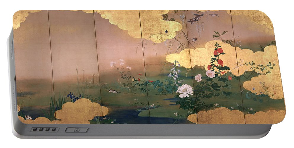 Shibata Zeshin Portable Battery Charger featuring the painting Flowers And Birds Of The Four Seasons by Shibata Zeshin
