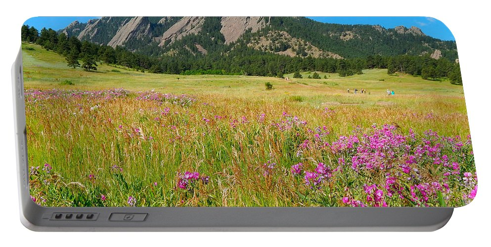 Photo Portable Battery Charger featuring the photograph The Flatirons Colorado by Dan Miller