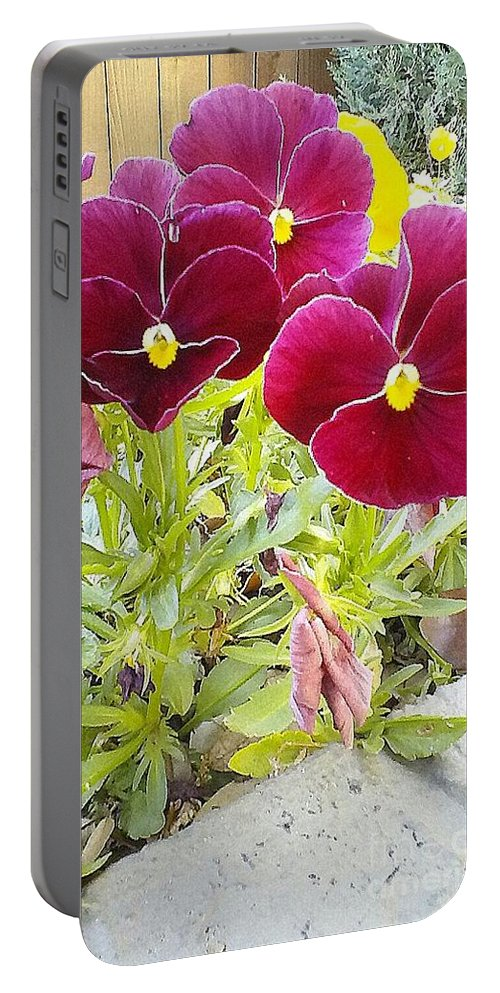 Maroon Portable Battery Charger featuring the photograph Flowers by Cindy New