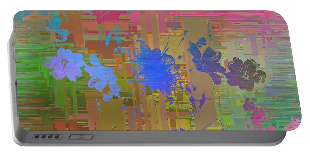 Abstract Portable Battery Charger featuring the digital art Flowers Cubed 1 by Tim Allen