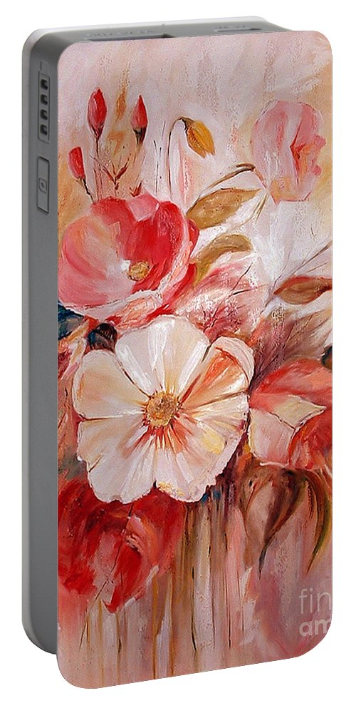 Abstract Portable Battery Charger featuring the painting Flowers I by Silvana Abel