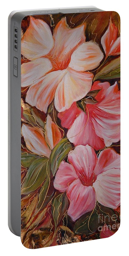 Abstract Portable Battery Charger featuring the painting Flowers II by Silvana Abel