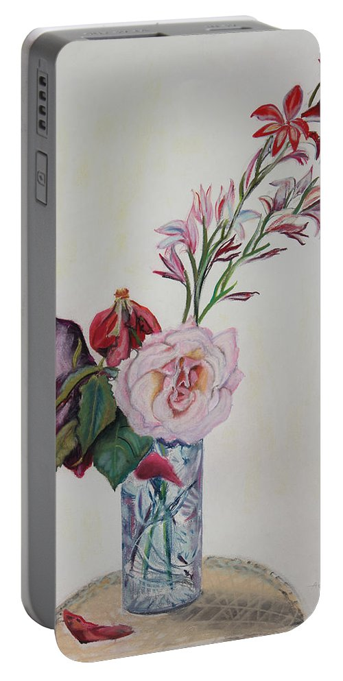 Pastel Floral Painting Portable Battery Charger featuring the painting Flowers In A Crystal Vase by Asha Carolyn Young