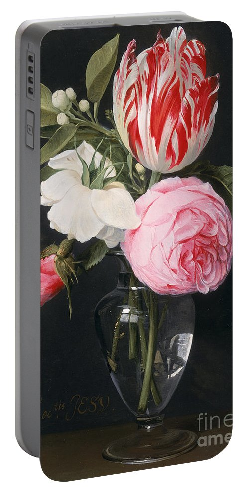 Rose Portable Battery Charger featuring the painting Flowers In A Glass Vase by Daniel Seghers
