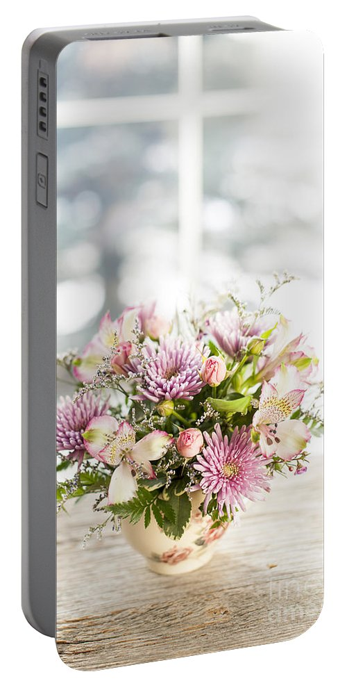 Flowers Portable Battery Charger featuring the photograph Flowers In Vase by Elena Elisseeva