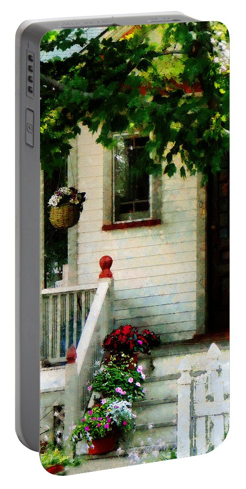 Flower Pots Portable Battery Charger featuring the photograph Flowers On Steps by Susan Savad