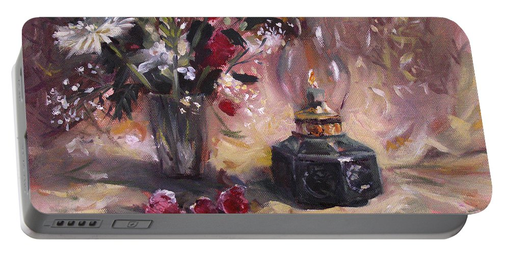 Flowers Portable Battery Charger featuring the painting Flowers With Lantern by Nancy Griswold