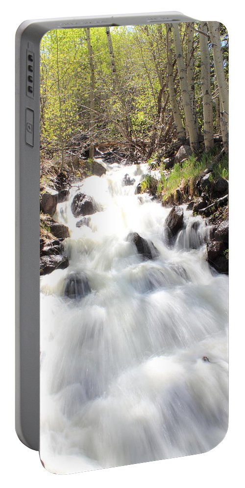 Waterfall Portable Battery Charger featuring the photograph Flowing Fast by Shane Bechler