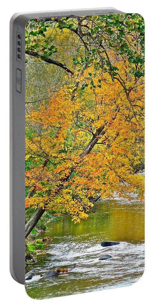 Landscape Portable Battery Charger featuring the photograph Flowing River Leaning Tree by Frozen in Time Fine Art Photography