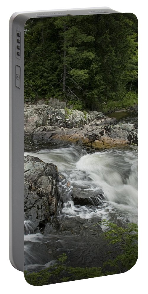 Art Portable Battery Charger featuring the photograph Flowing Stream With Waterfall In Vermont by Randall Nyhof