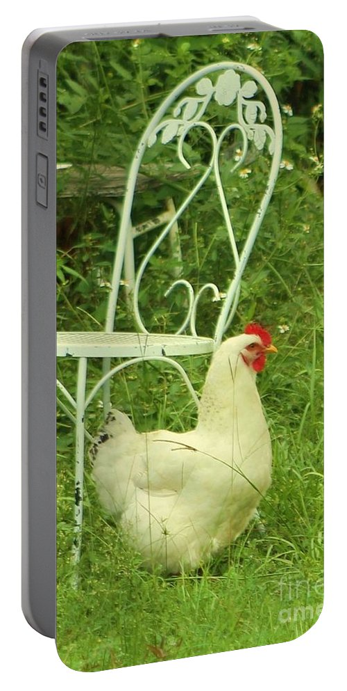 Fowl Portable Battery Charger featuring the photograph Fluffy Chicken by Michelle Powell