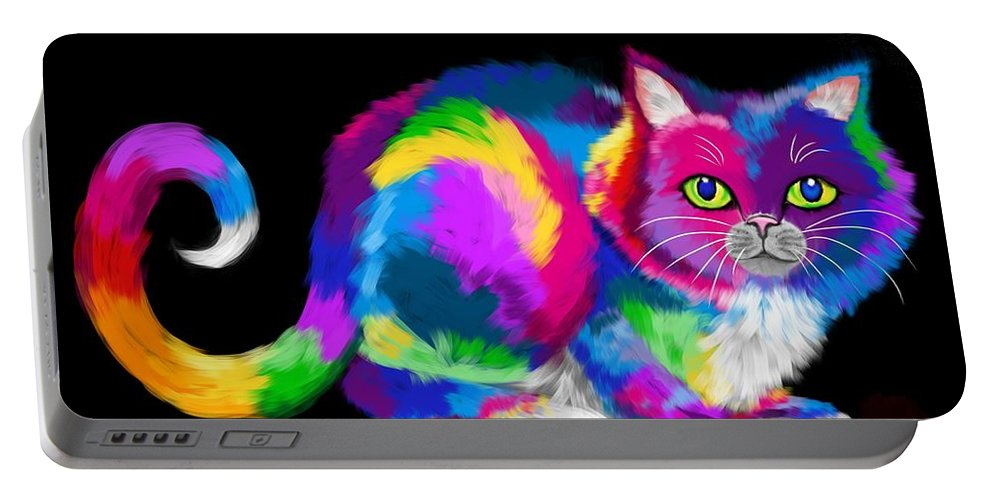 Cat Portable Battery Charger featuring the digital art Fluffy Rainbow Cat 2 by Nick Gustafson