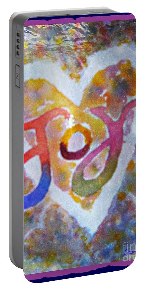 Joy Portable Battery Charger featuring the mixed media Fluid Joy by Leanne Seymour
