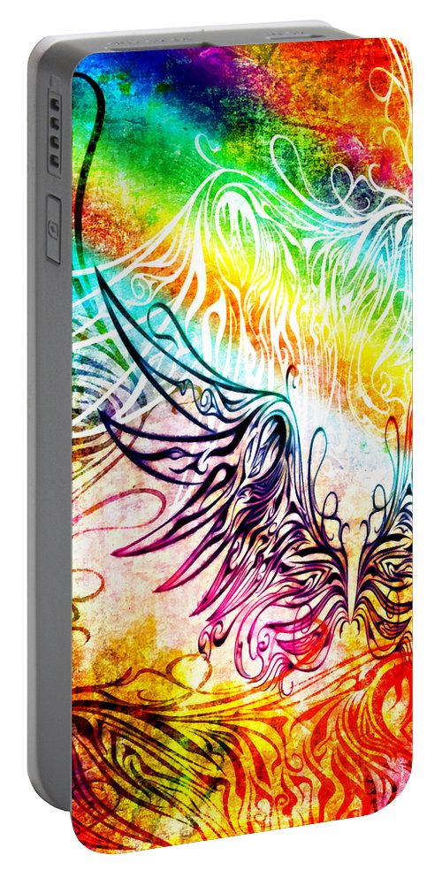 Wing Portable Battery Charger featuring the digital art Fly Away 2 by Angelina Vick