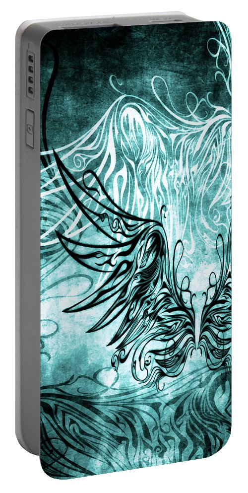 Wing Portable Battery Charger featuring the mixed media Fly Away Gothic Aqua by Angelina Vick