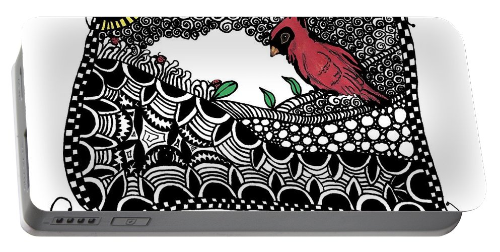 Cardinal Portable Battery Charger featuring the painting Fly Away Home by Terry Fleckney