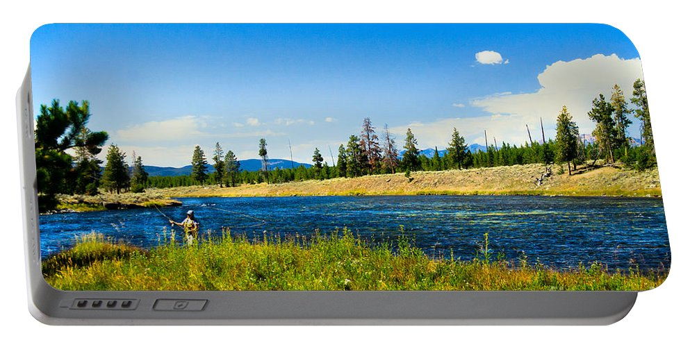 Fishing Portable Battery Charger featuring the photograph Fly Fishing In Yellowstone by Robert Bales