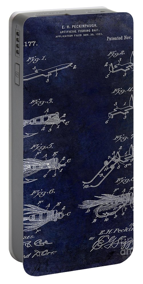 Fly Fishing Lure Portable Battery Charger featuring the photograph 1922 Fly Fishing Lure Blue by Jon Neidert