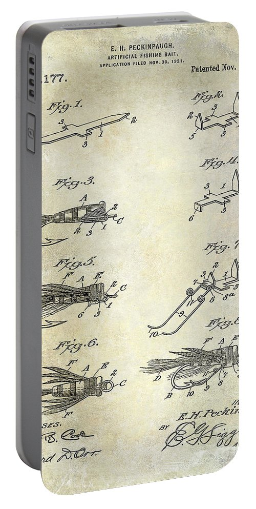 Fly Fishing Lure Portable Battery Charger featuring the photograph 1922 Fly Fishing Lure Patent Drawing by Jon Neidert