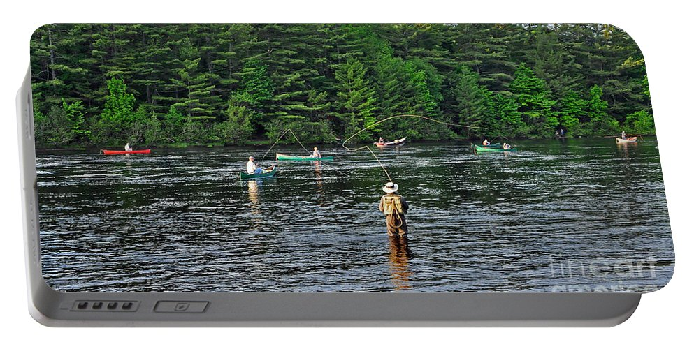 Fly Fishing Portable Battery Charger featuring the photograph Fly Fishing West Penobscot River Maine by Glenn Gordon
