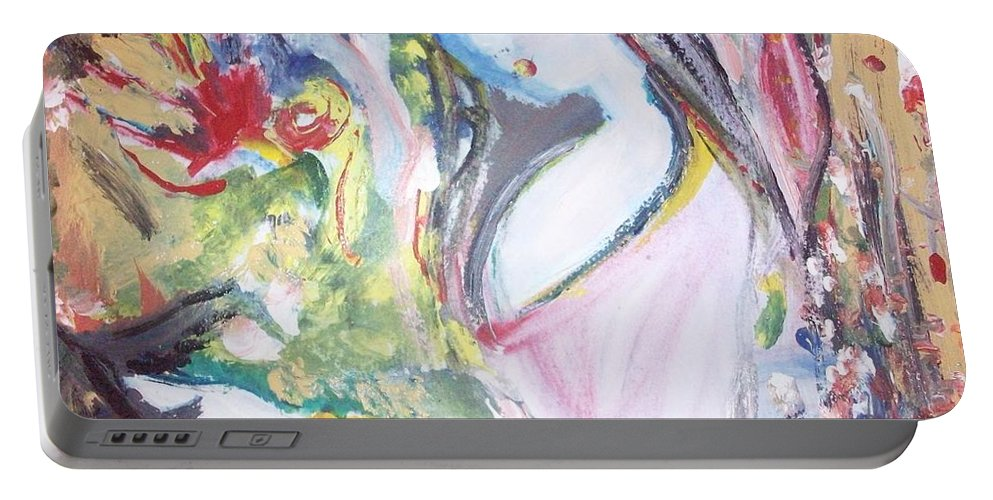 Bird Portable Battery Charger featuring the painting Fly Free by Judith Desrosiers