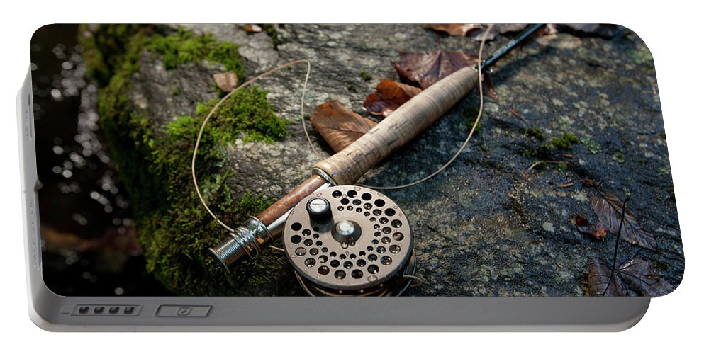 Banner Elk Portable Battery Charger featuring the photograph Fly Rod And Reel Detail On Mossy Wet by Tommy Penick
