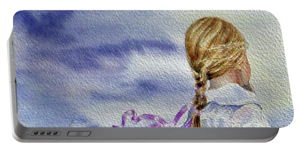 Birds Portable Battery Charger featuring the painting Fly With Us by Irina Sztukowski