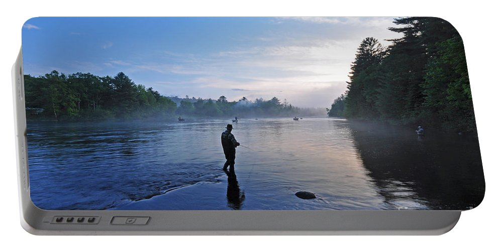Fly Fishing Portable Battery Charger featuring the photograph Flyfishing In Maine by Glenn Gordon