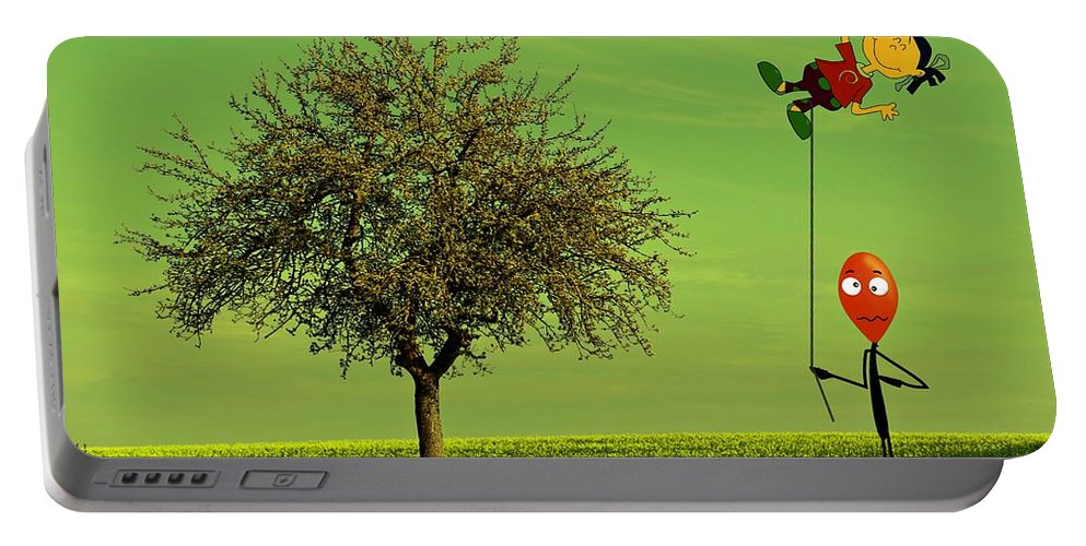 Balloon Portable Battery Charger featuring the photograph Flying A Balloon In A Parallel Universe by David Dehner